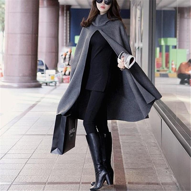 Pure Color  Fashion Hooded Cloak Cape Coat Black l