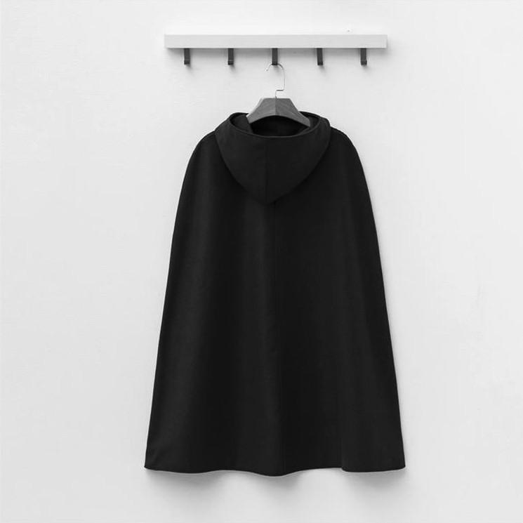 Pure Color  Fashion Hooded Cloak Cape Coat Black m