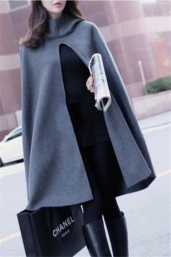 Pure Color  Fashion Hooded Cloak Cape Coat Dark Grey s