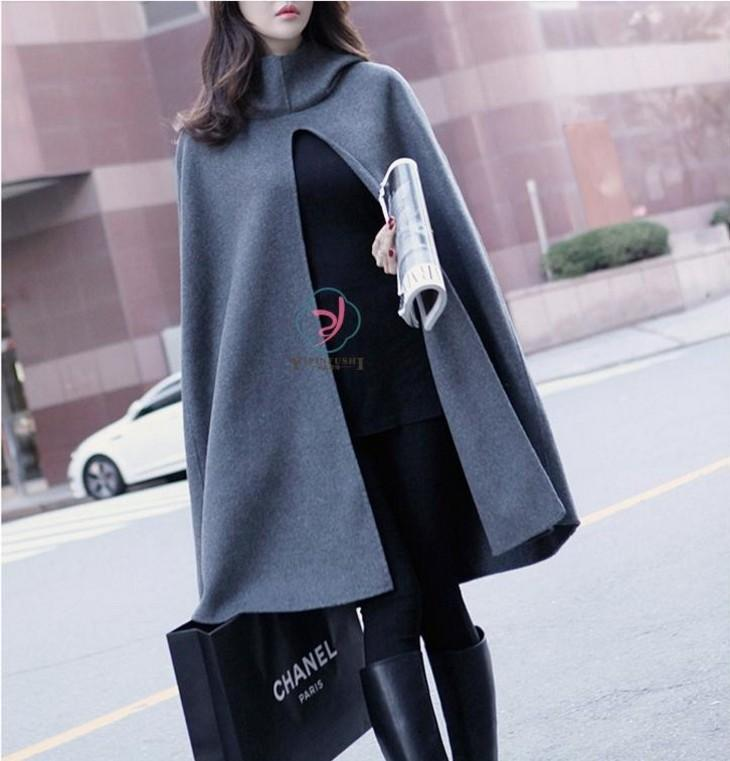 Pure Color  Fashion Hooded Cloak Cape Coat Dark Grey m