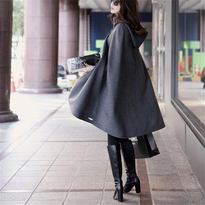 Pure Color  Fashion Hooded Cloak Cape Coat Dark Grey l