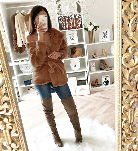 Image of Fashion Lapel Tie   Waist Down With Hat Plush Coat Brown s