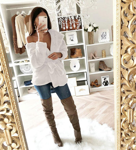 Image of Fashion Lapel Tie   Waist Down With Hat Plush Coat White xl