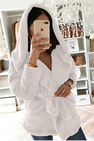 Image of Fashion Lapel Tie   Waist Down With Hat Plush Coat White s