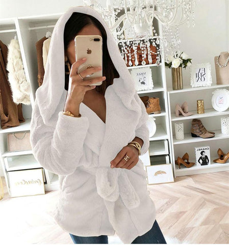 Image of Fashion Lapel Tie   Waist Down With Hat Plush Coat White l