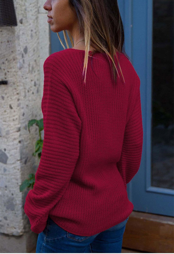 Autumn And Winter   Fashion V Collar Loose Long-Sleeved Sweater Red m