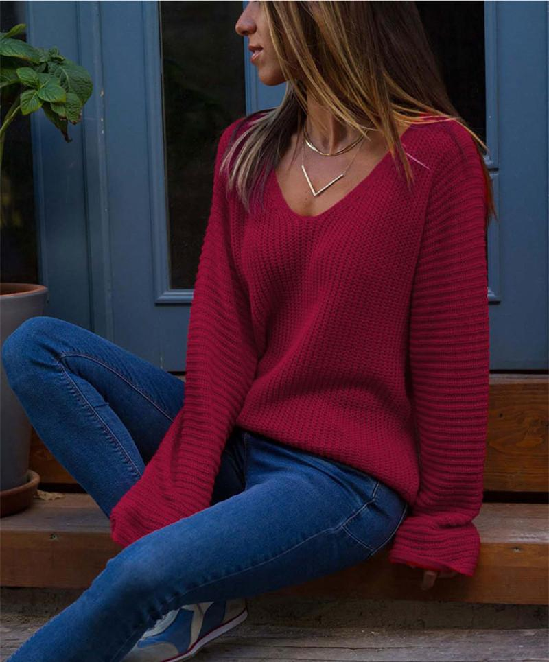 Autumn And Winter   Fashion V Collar Loose Long-Sleeved Sweater Red s
