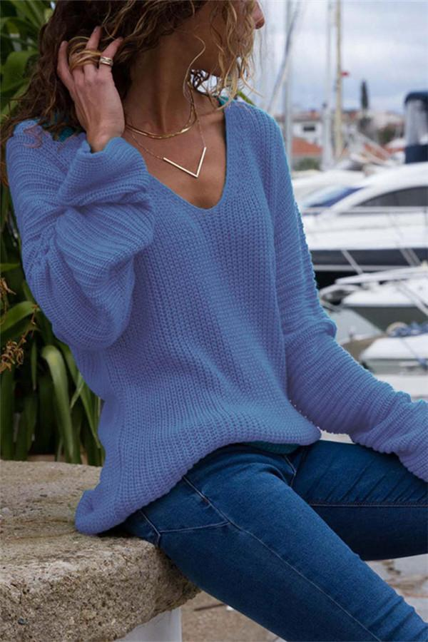 Autumn And Winter   Fashion V Collar Loose Long-Sleeved Sweater Blue s