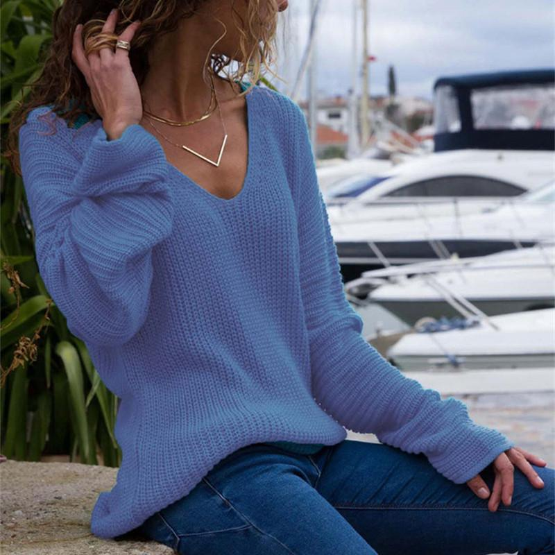 Autumn And Winter   Fashion V Collar Loose Long-Sleeved Sweater Blue m
