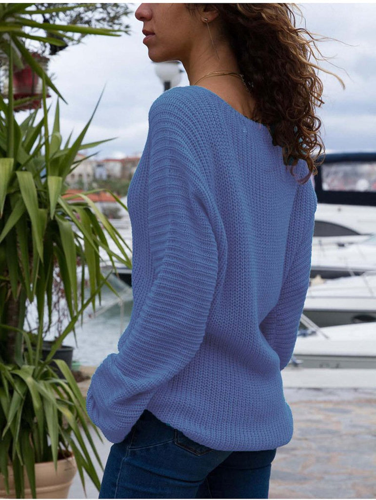 Autumn And Winter   Fashion V Collar Loose Long-Sleeved Sweater Blue xl