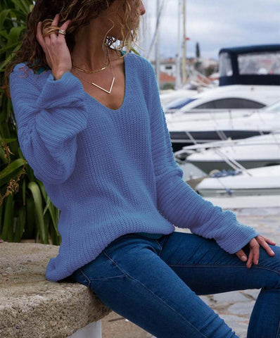 Image of Autumn And Winter   Fashion V Collar Loose Long-Sleeved Sweater Blue l