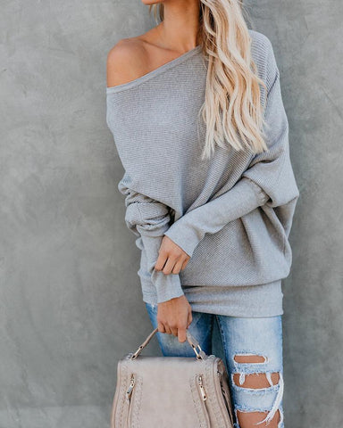 Image of Autumn And Winter Sexy   Collared Long-Sleeved Knitted Sweater Gray l