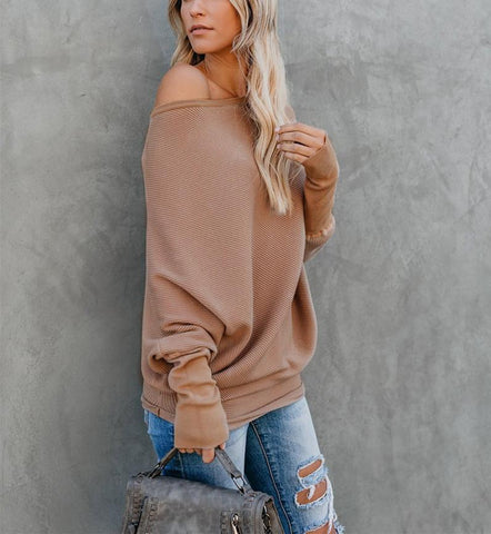 Image of Autumn And Winter Sexy   Collared Long-Sleeved Knitted Sweater Khaki xl