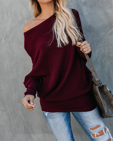 Image of Autumn And Winter Sexy   Collared Long-Sleeved Knitted Sweater Claret xl