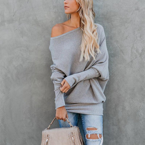 Image of Autumn And Winter Sexy   Collared Long-Sleeved Knitted Sweater Gray 2xl