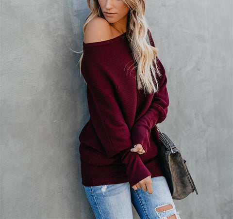 Image of Autumn And Winter Sexy   Collared Long-Sleeved Knitted Sweater Claret 2xl