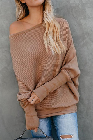 Image of Autumn And Winter Sexy   Collared Long-Sleeved Knitted Sweater Khaki l