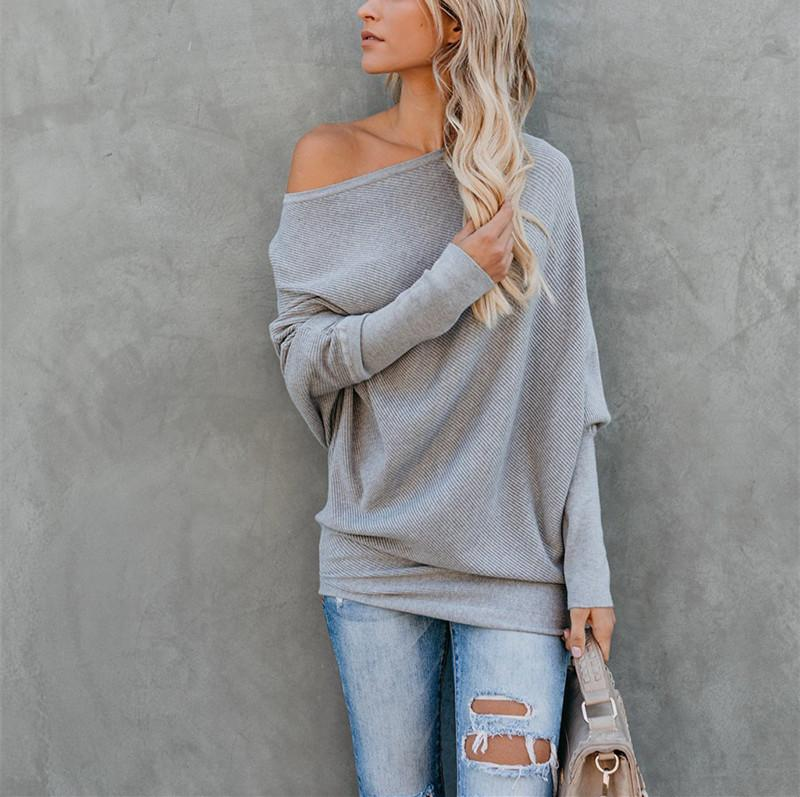 Autumn And Winter Sexy   Collared Long-Sleeved Knitted Sweater White s