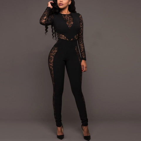 Image of Sexy Lace Patchwork   High Waist Jumpsuit Black l