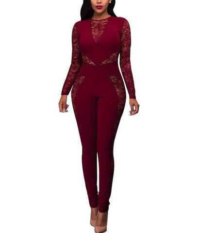 Image of Sexy Lace Patchwork   High Waist Jumpsuit Red s