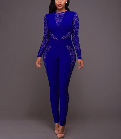 Image of Sexy Lace Patchwork   High Waist Jumpsuit Dark Blue m