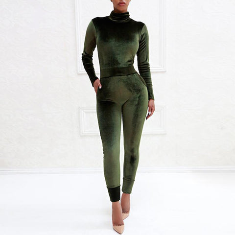 Image of Sexy Pure Color Sport   Corduroy Long Sleeve Jumpsuit