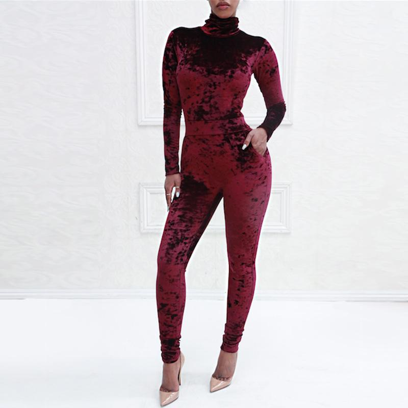 Sexy Pure Color Sport   Corduroy Long Sleeve Jumpsuit Red l