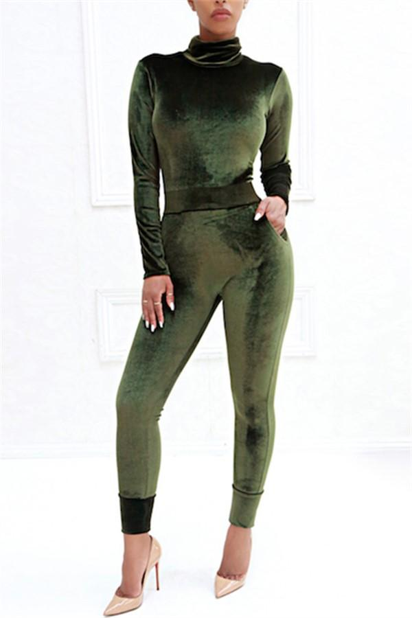 Sexy Pure Color Sport   Corduroy Long Sleeve Jumpsuit Army Green s