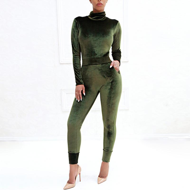 Sexy Pure Color Sport   Corduroy Long Sleeve Jumpsuit Army Green m