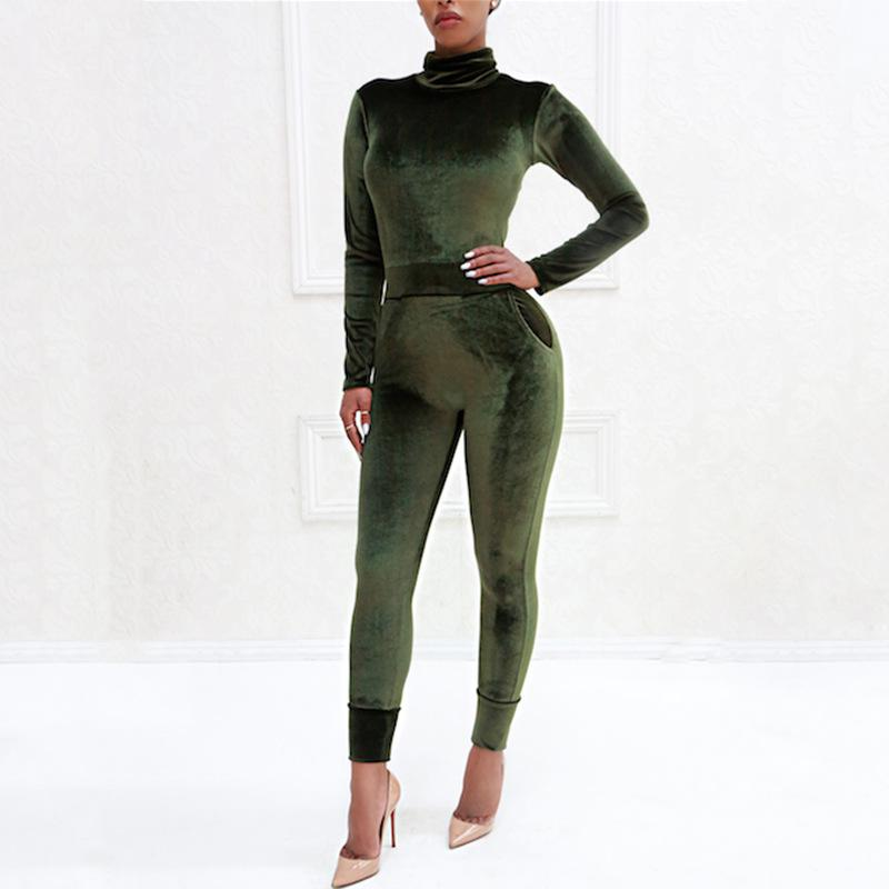 Sexy Pure Color Sport   Corduroy Long Sleeve Jumpsuit Army Green l