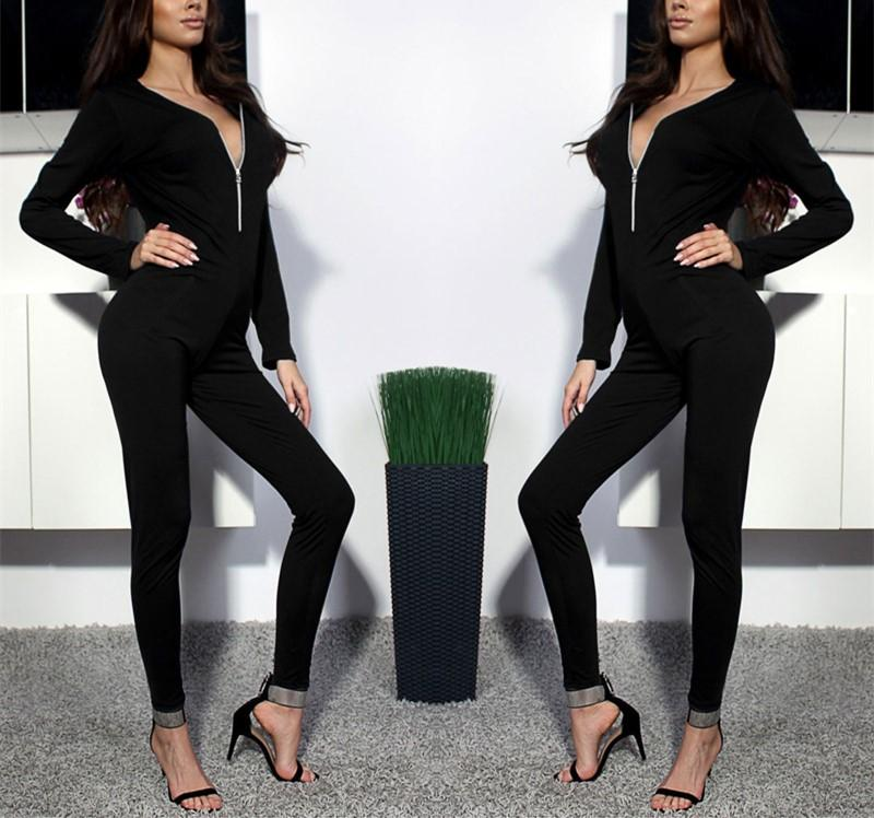 Sexy Pure Color Sport   Deep V-Neck Zipper High Waisted Jumpsuit Black m