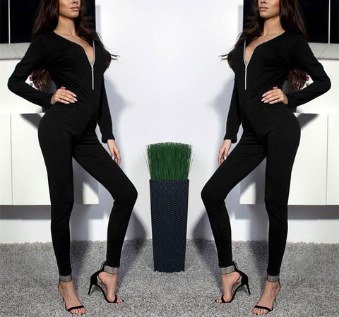 Image of Sexy Pure Color Sport   Deep V-Neck Zipper High Waisted Jumpsuit Black m