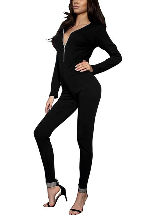 Sexy Pure Color Sport   Deep V-Neck Zipper High Waisted Jumpsuit Black l