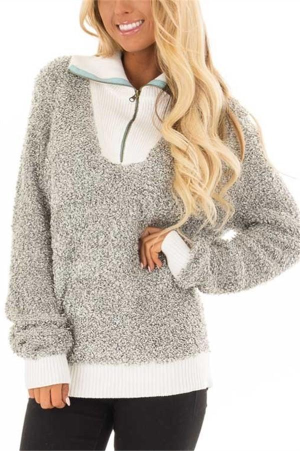 Fashion Plush Pit Strips Spliced With High-Necked Zipper Sweater Top Gray s