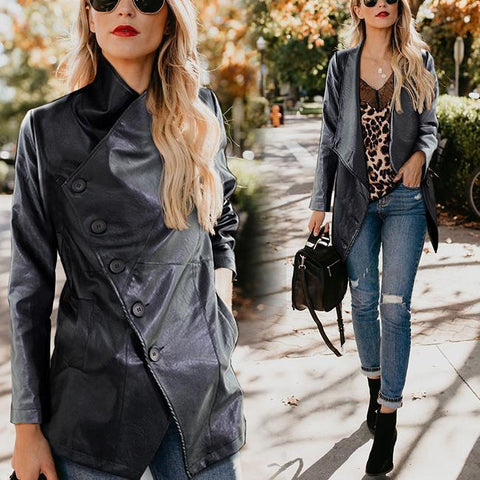Image of Stylish Cool Leather Solid Color Long Sleeve Jacket Cardigan Black l