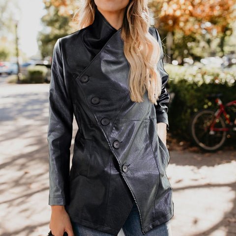 Image of Stylish Cool Leather Solid Color Long Sleeve Jacket Cardigan Black xl