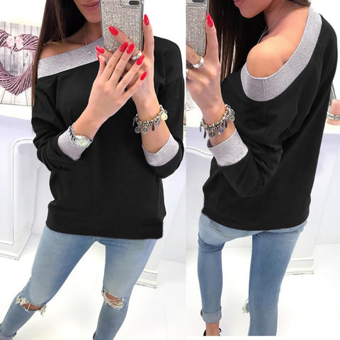 Image of Fashion Casual Slanted Shoulder Sexy Loose Sweater Black xl