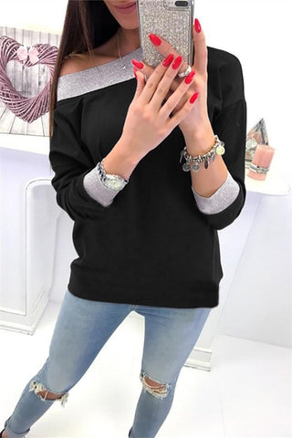 Image of Fashion Casual Slanted Shoulder Sexy Loose Sweater Black s