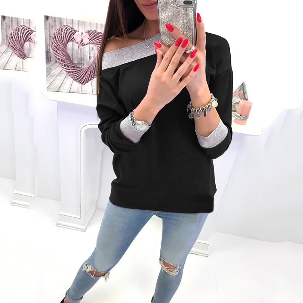 Fashion Casual Slanted Shoulder Sexy Loose Sweater Black m