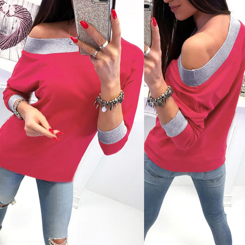 Image of Fashion Casual Slanted Shoulder Sexy Loose Sweater Red xl