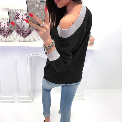 Image of Fashion Casual Slanted Shoulder Sexy Loose Sweater Black l
