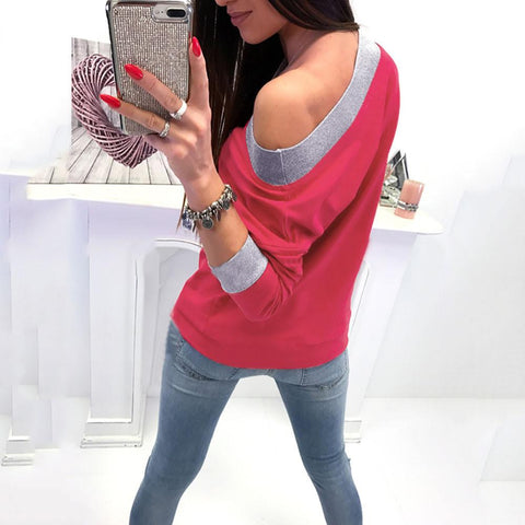 Image of Fashion Casual Slanted Shoulder Sexy Loose Sweater Red s