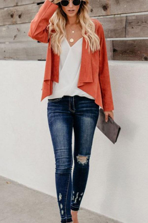 Fold Over Collar  Asymmetric Hem  Plain Jackets Orange s