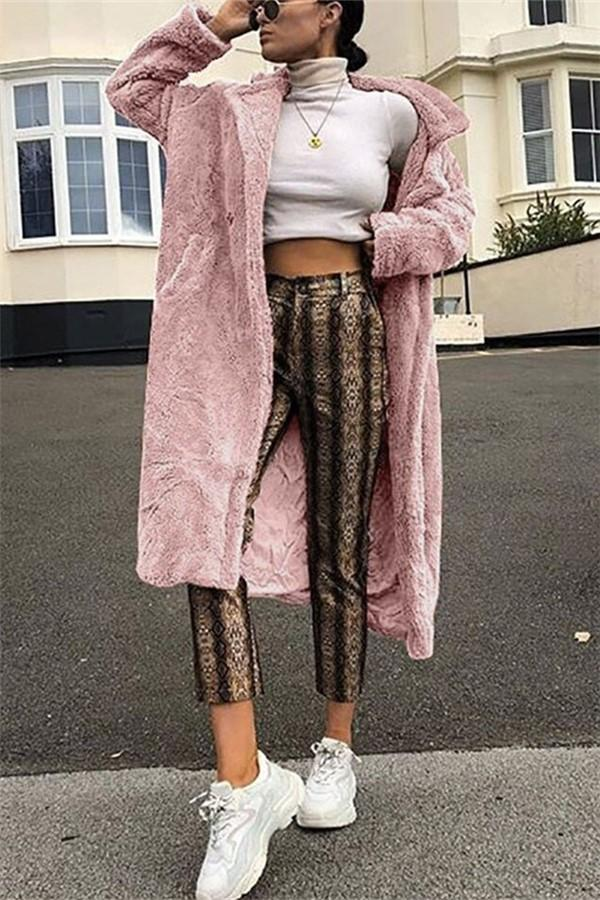 Casual Long And Medium Double Imitation Fur Plush Coat Pink s