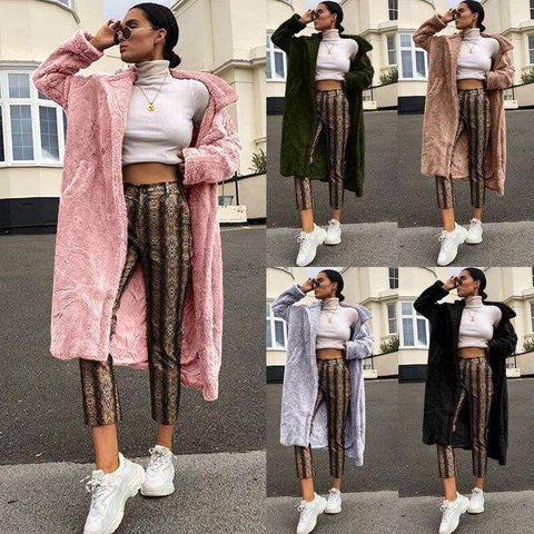 Image of Casual Long And Medium Double Imitation Fur Plush Coat Pink xl