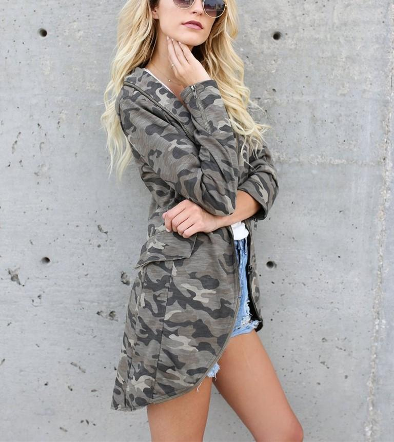 Casual Oversize Medium   Long Lapel Zipper Camouflage Windbreaker Coat Same As Photo l