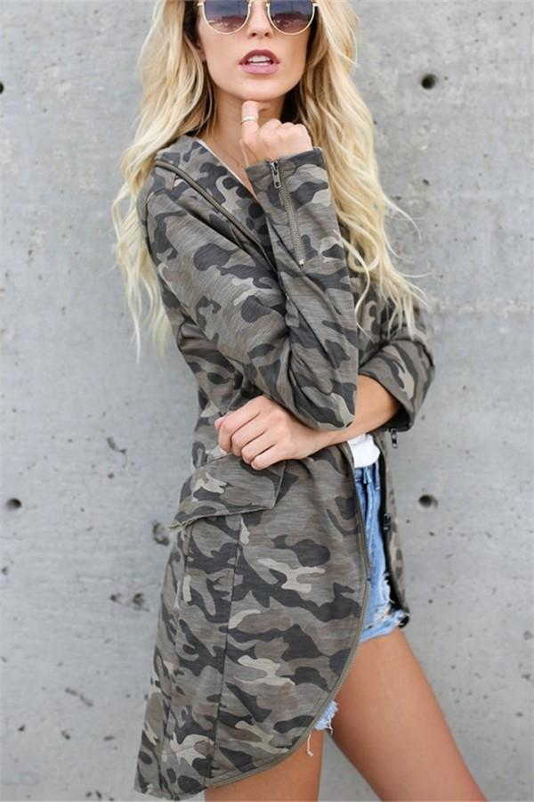 Casual Oversize Medium   Long Lapel Zipper Camouflage Windbreaker Coat Same As Photo s