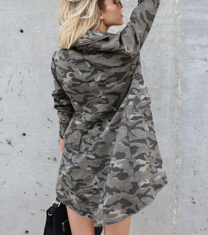 Casual Oversize Medium   Long Lapel Zipper Camouflage Windbreaker Coat Same As Photo xl