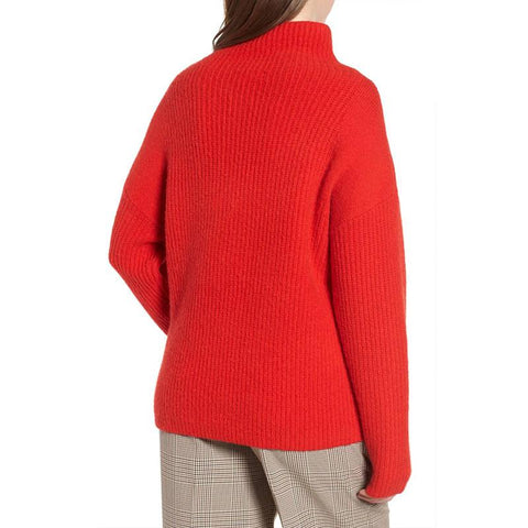 Image of Casual Pure Color Long   Sleeve High Neck Loose Sweater Red xl