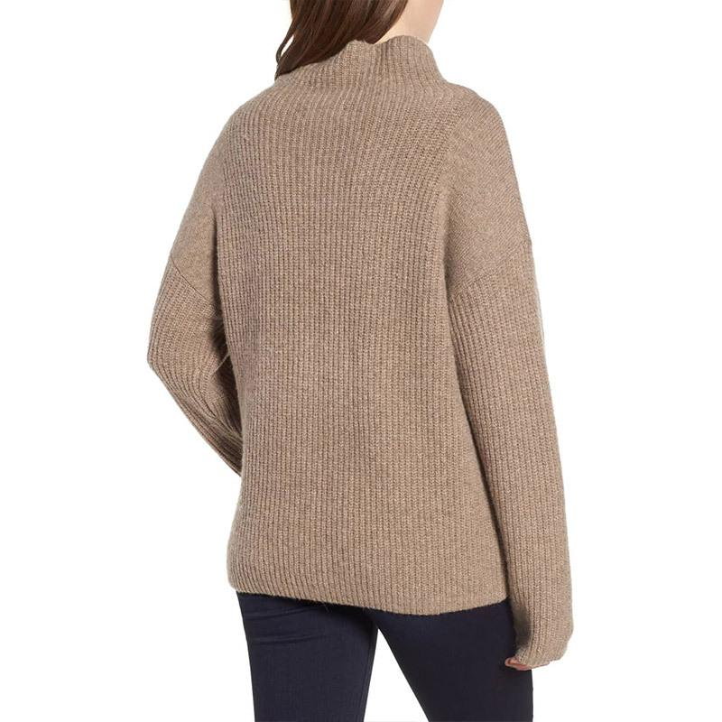 Casual Pure Color Long   Sleeve High Neck Loose Sweater Khaki s